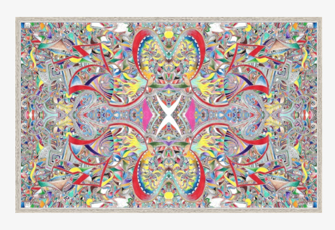 "repetitive process £1000.00 40"" x 26.49 (41.50 X 26.49 with silver frame) digital acrylic ink"
