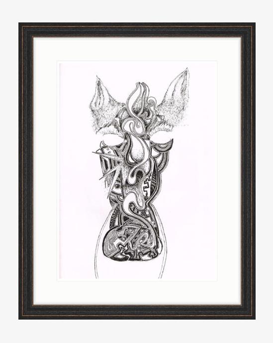 """Zebra £700 16"""" x 22"""" (24.75 X 30.75 with distressed black wood frame) digital ink"""