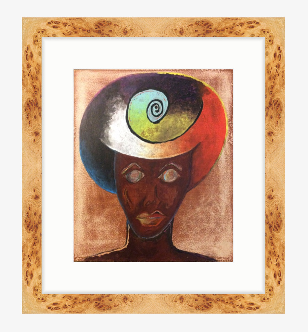 "Eve £300 12"" x 14.46 (20.75 X 23.21 with burl wood frame) digital wood acrylic"